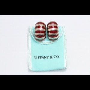 Tiffany & Co Red Enamel Shell Shrimp Earrings